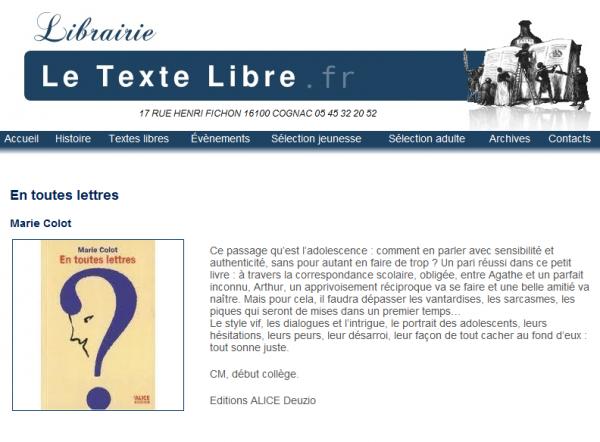 Critique Librairie Le Texte Libre